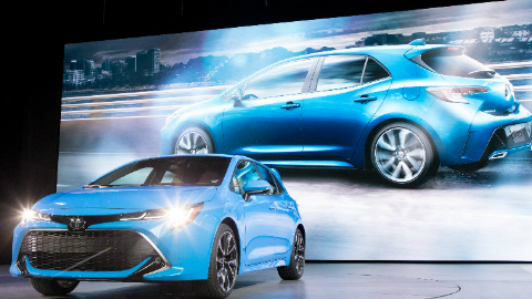 2019 Toyota Corolla Hatchback on stage at the 2018 NY Auto Show