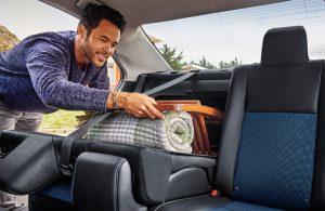 2018 Toyota Corolla split-folding rear seats with one folded flat