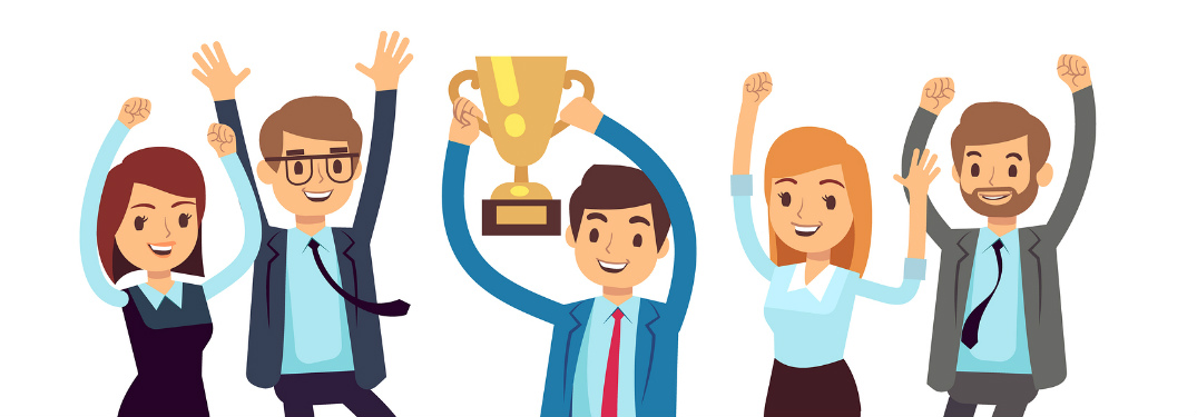 Graphic of employees holding up a trophy