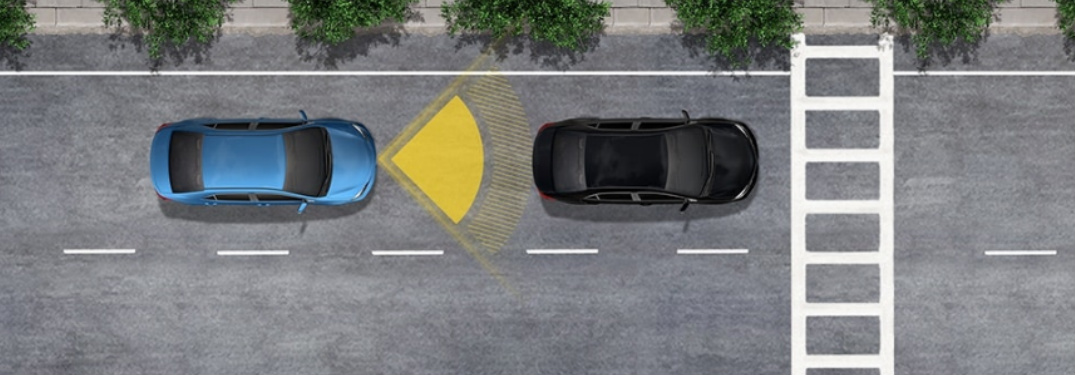 Graphic of the Toyota Safety Sense Pre-Collision System in action