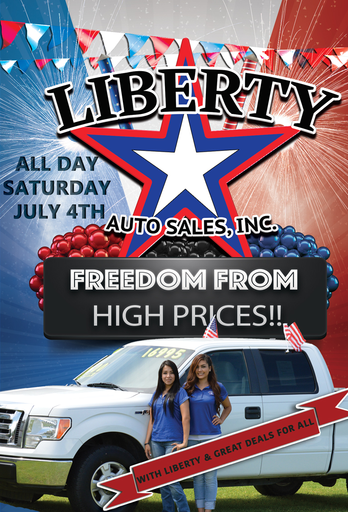 4th of july flyer liberty auto sales inc