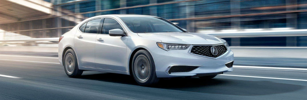 white 2018 Acura TLX on the road