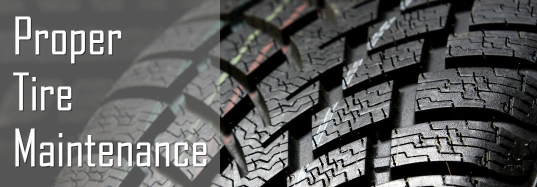 Proper Tire Maintenance & Care with close-up image of tire tread