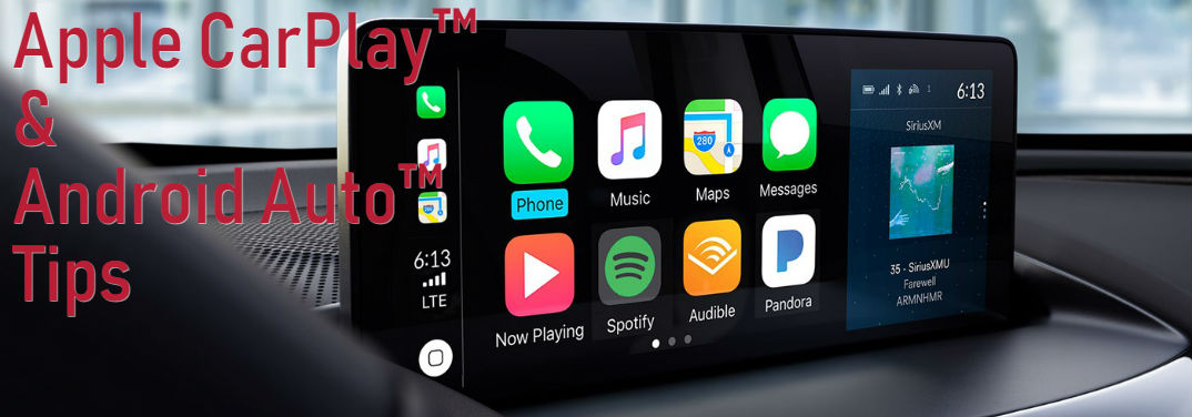 """Acura Apple CarPlay™ and Android Auto™ Tips with an image of Apple CarPlay™ on the display screen of a 2019 Acura RDX with Advance Package and Ebony Interior and text saying: """"Apple CarPlay™ & Android Auto™ Tips"""""""