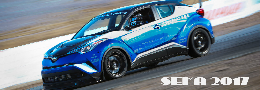 The R-Tuned C-HR racing down a track