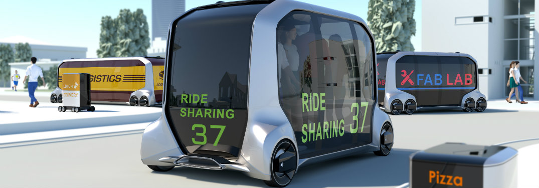 Example of Toyota e-Palette concept used as Uber, Fab Lab and Pizza delivery
