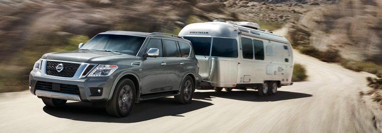 gray 2018 Nissan Armada towing