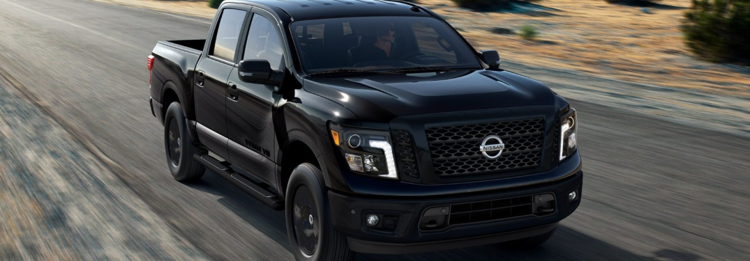 black 2018 Nissan Titan Midnight Edition front side view
