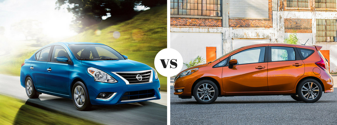 2018 Blue Nissan Versa sedan vs 2018 Orange Nissan Versa Note