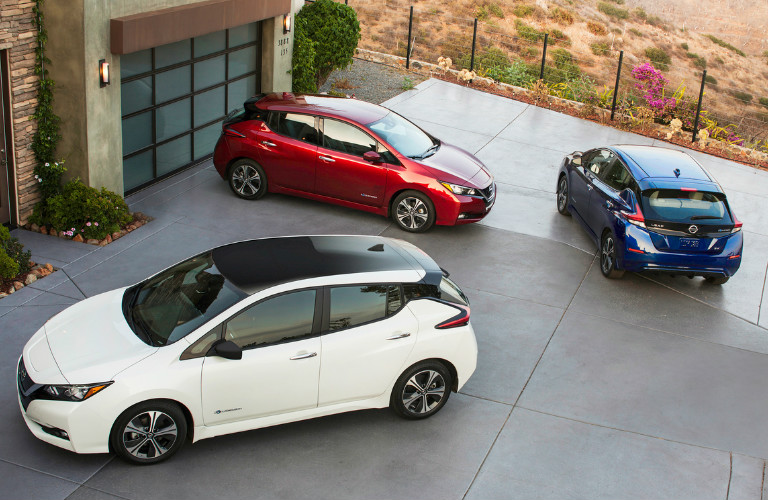 2018 Nissan Leaf Models Parked Viewed From The Top
