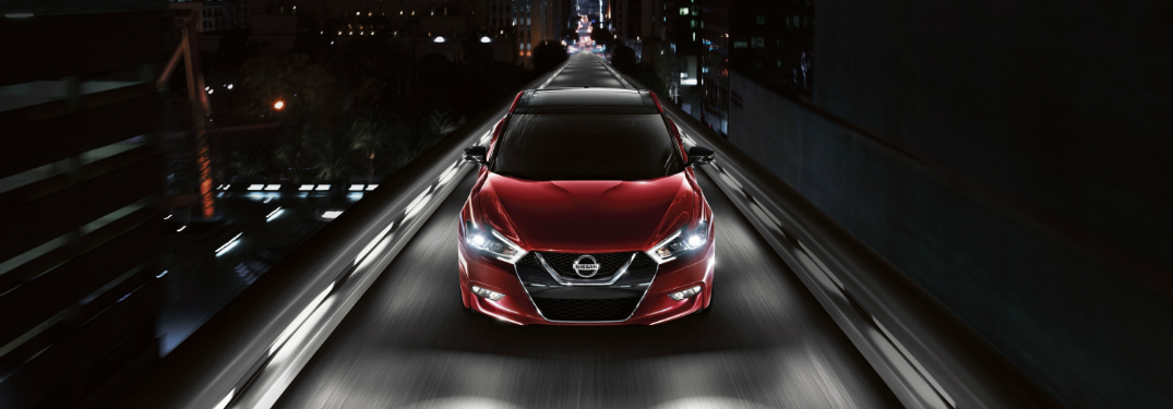 red 2018 Nissan Maxima overhead front view