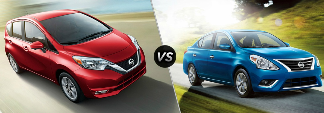 red Nissan Versa Note and blue Nissan Versa side by side