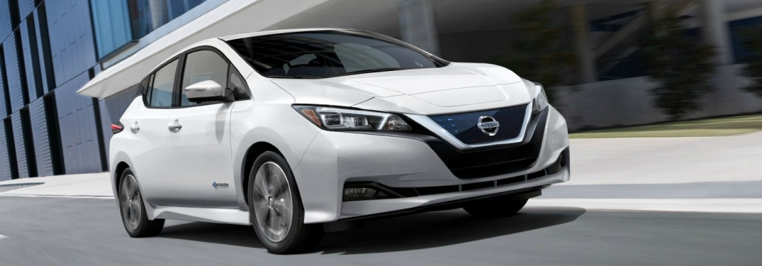 white 2018 Nissan Leaf front side view