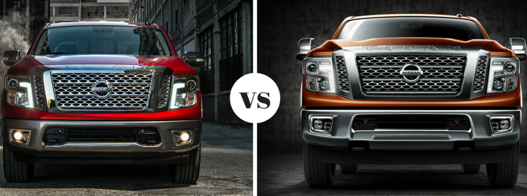 2018 Nissan TITAN and TITAN XD comparison view of front and grill of both trucks