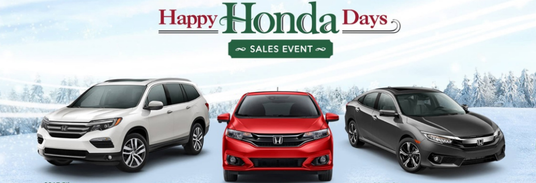 Happy Honda Sales Event Title and Three Honda Vehices on a Snowy Hill