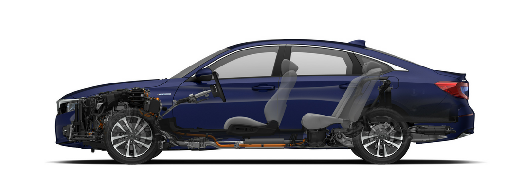 Cutout image of 2018 Honda Accord Hybrid in blue