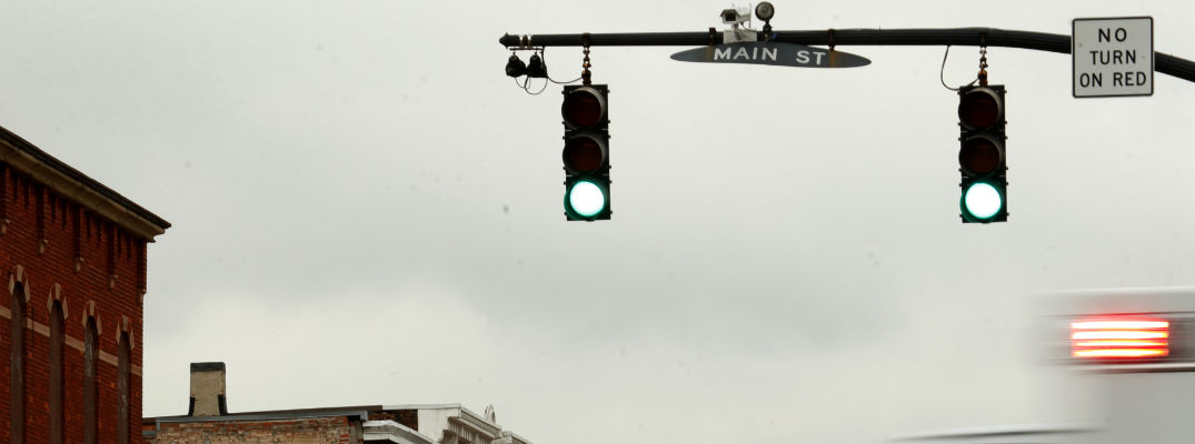 A photo of the cameras used to aid the Honda Smart Intersection provide warnings.