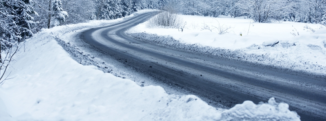 Winding road with snow