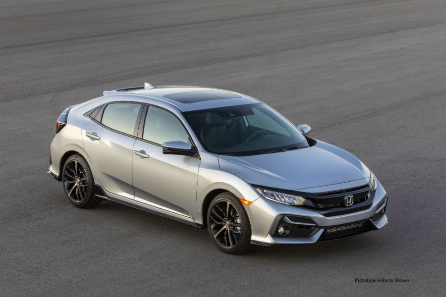 An overhead photo of the 2020 Honda Civic Hatchback.