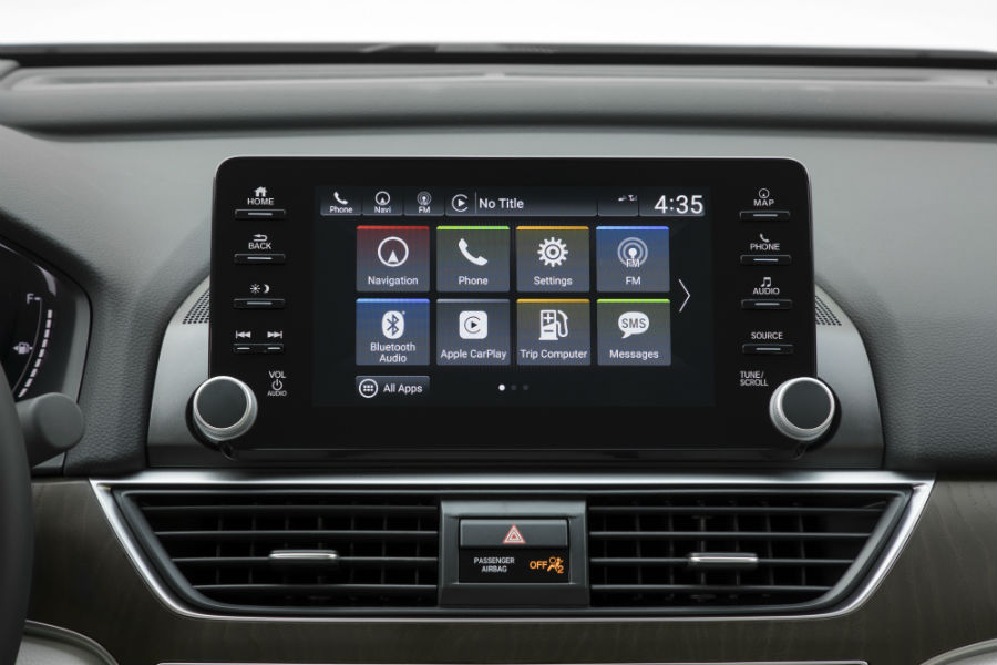 A photo of the touchscreen interface equipped in the 2020 Honda Accord.