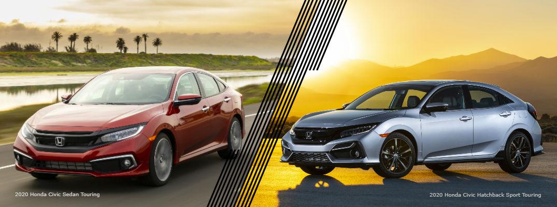 Red 2020 Honda Civic Sedan Touring and silver 2020 Honda Civic Hatchback Sport Touring