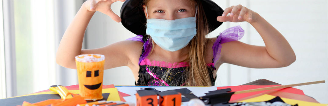 Little Girl Witch Costume with Mask Makes Halloween Crafts