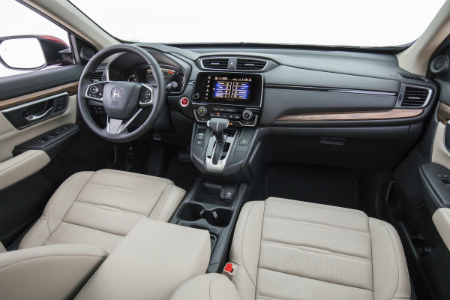 front interior of 2018 honda cr-v including seats and steering wheel
