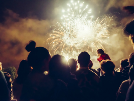 group of people together at night watching fireworks in sky