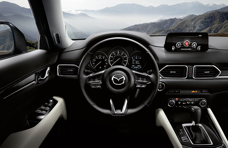 2018-Mazda-CX-5-steering-wheel-and-dashboard-from-driver-perspective