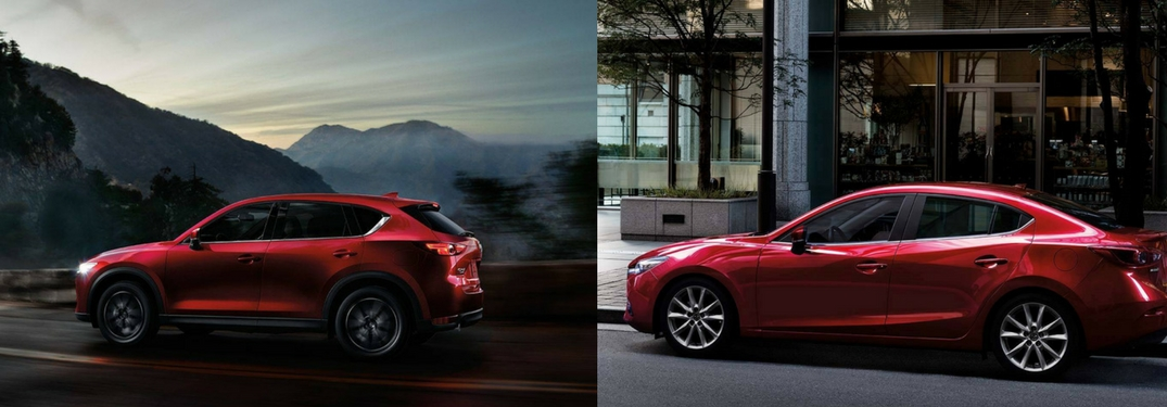 Side by side images of the 2018 Mazda CX-5 and Mazda3 sedan on dark backgrounds