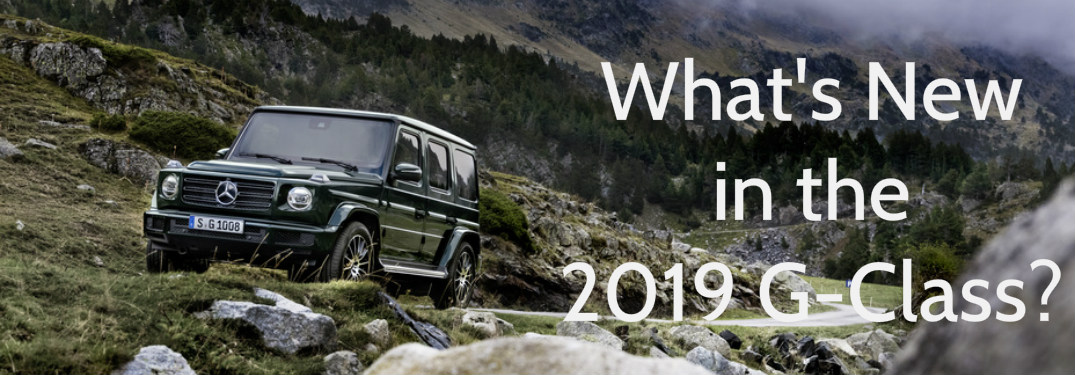 black 2019 Mercedes-Benz G-Class with What's New in the 2019 G-Class text