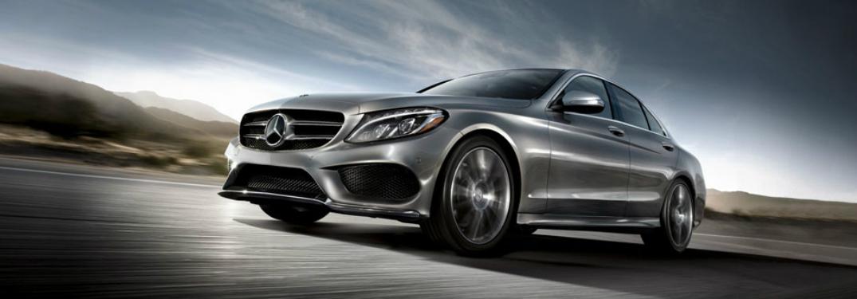 Close up of silver 2018 Mercedes-Benz C-Class
