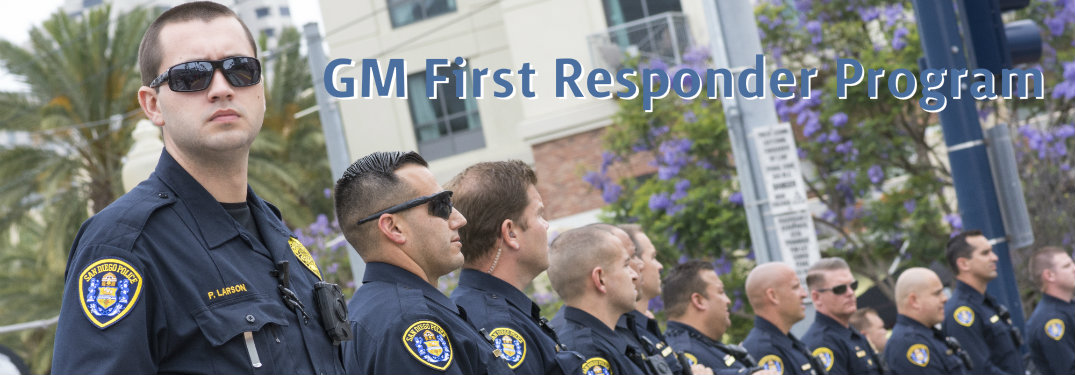 Police offers with text saying GM First Responder Program