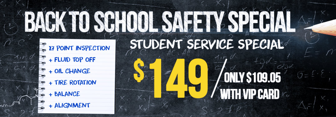 Back to school banner with $149 service price and chalkboard background