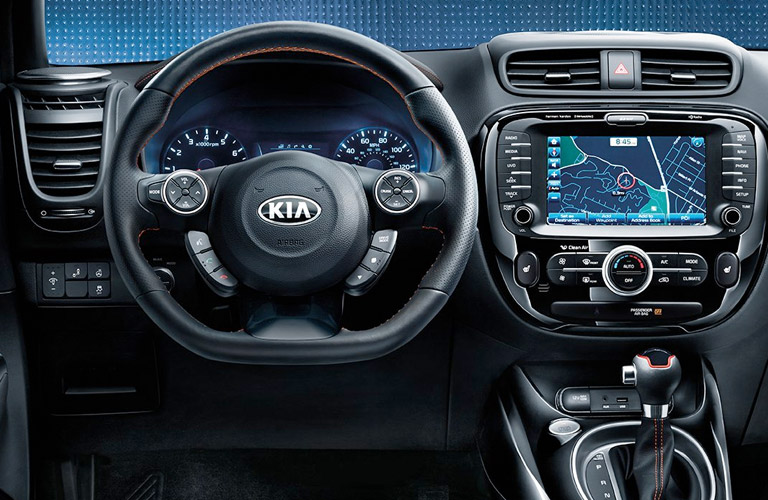 kia soul steering wheel and display screen