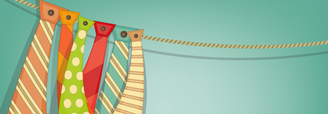 animated graphic of ties hanging on a wire