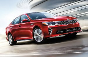 Kia Optima exterior in red