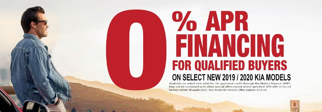 A banner of the 0% APR Financing Special at Garden Grove Kia.