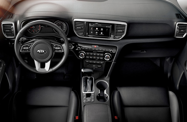 The front interior of a 2020 Kia Sportage.