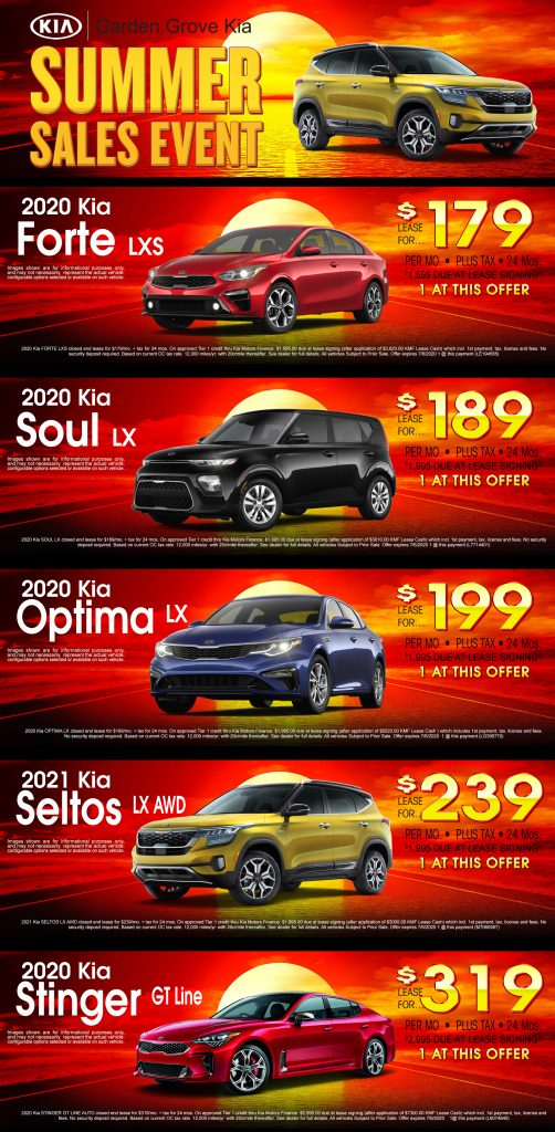 A weekly ad special on Garden grove Kia's Summer Sales Event, which includes various 2020 Kia models.