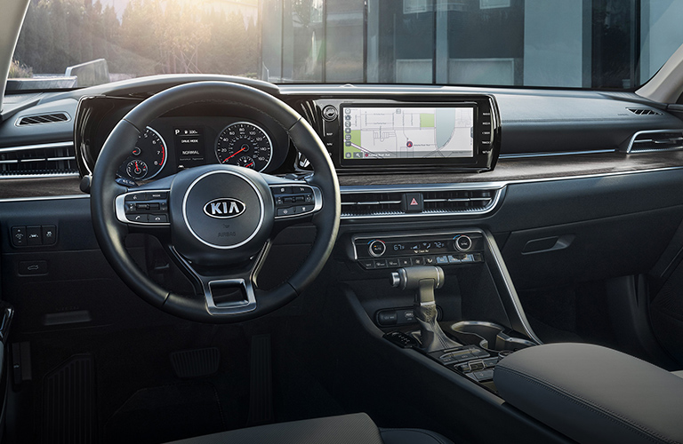 The front interior inside a 2021 Kia K5.