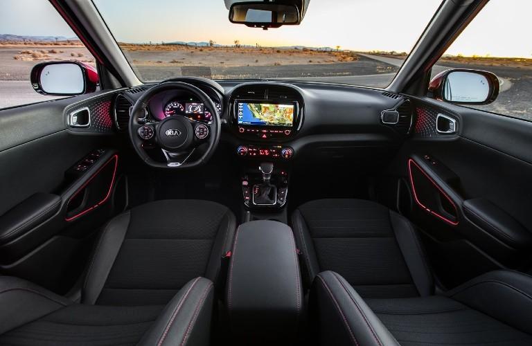 Front interior of a 2021 Kia Soul Turbo.