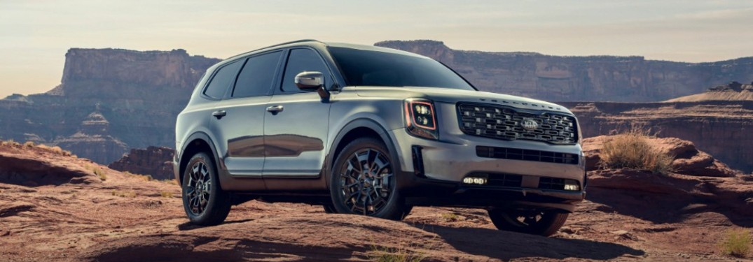 The front and side view of a silver 2021 Kia Telluride parked in front of a canyon.