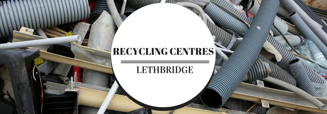 Recycling Centres Lethbridge Title in a Circle Icon over Background of a Pile of Junk