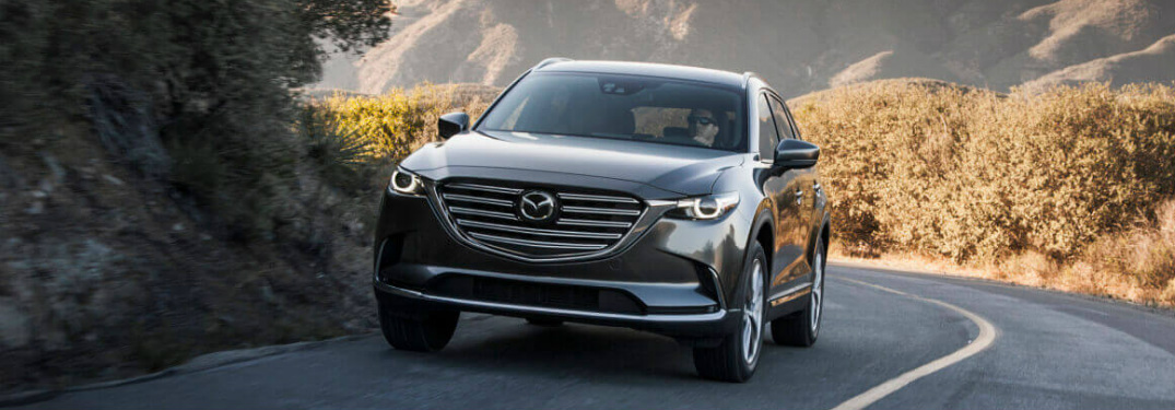 Grey 2018 Mazda CX-9 Driving on a Mountain Road