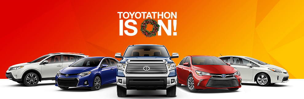 Image of Toyotathon banner, including new Toyota models against an orange background.