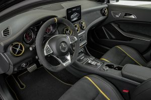 2018 Mercedes-Benz GLA front passenger space and dashboard with infotainment system