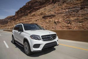 2018 Mercedes Benz GLS front three quarter exterior while driving down the highway