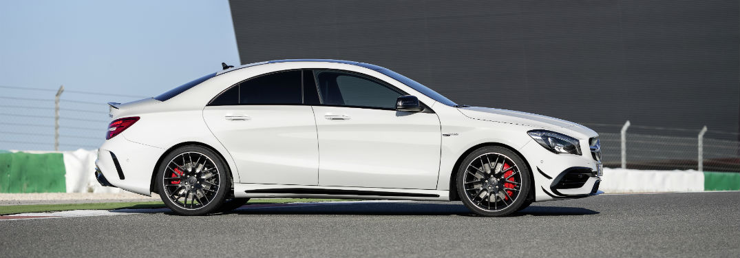 side view of a white 2018 Mercedes-Benz CLA Coupe