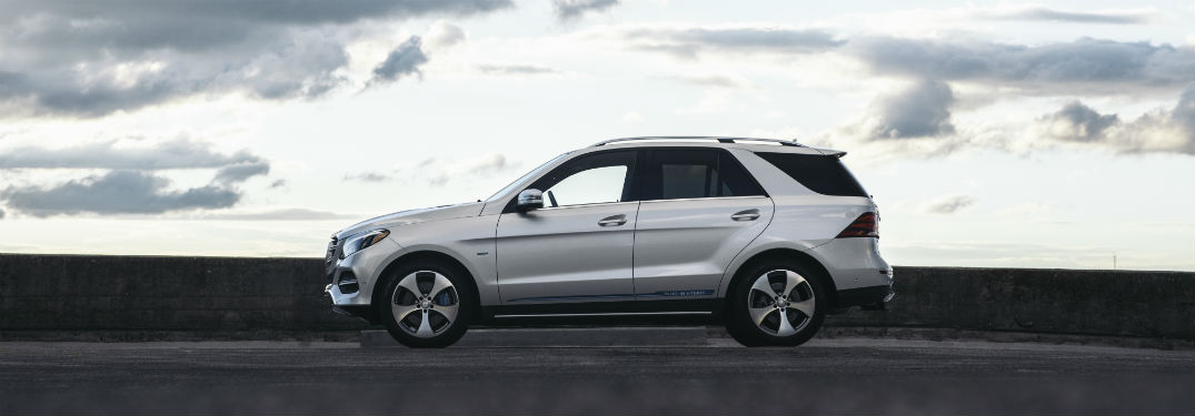 side view of a white 2018 Mercedes-Benz GLE SUV
